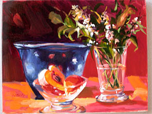 Still Life Painting - Blueglass by Anne McNally