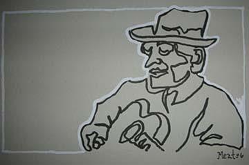 Blues Man 8 5x7inch Drawing by Meat-Jeffery Paul Gadbois