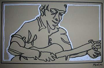 Blues Man 9 5x7inch Drawing by Meat-Jeffery Paul Gadbois