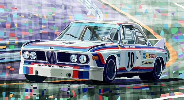 Automotive Digital Art - Bmw 3 0 Csl 1st Spa 24hrs 1973 Quester Hezemans by Yuriy  Shevchuk