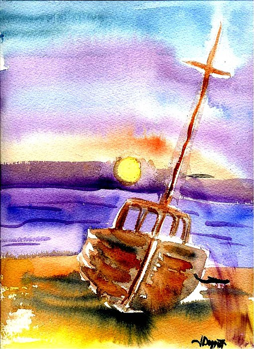Boat Painting - Boat Ashore by Janet Doggett