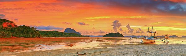 Bangka Photograph - Boat At Sunset by MotHaiBaPhoto Prints