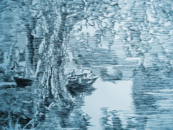 Boat Drawing - Boat In Blue by Robbi  Musser