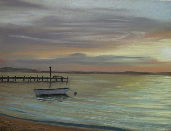 Boat Pastel - Boat On Bay by Joan Swanson