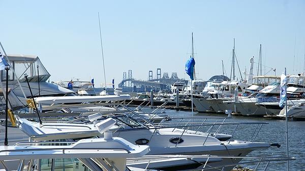 Chesapeake Bay Bridge Photograph - Boat Show On The Bay by Charles Kraus