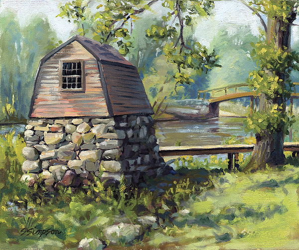 Concord Painting - Boathouse And Battle Bridge by Steven A Simpson