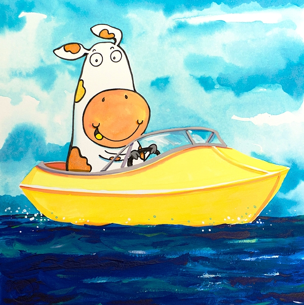 Cow Painting - Boating Cow by Scott Nelson