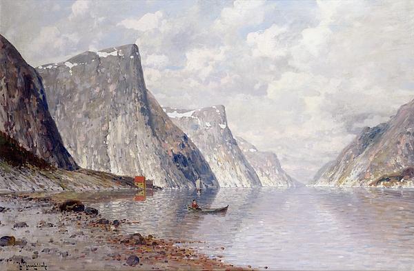 Johann Painting - Boating On A Norwegian Fjord by Johann II Jungblut