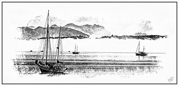 Line Drawing Digital Art - Boats Afloat by Rick Lawler
