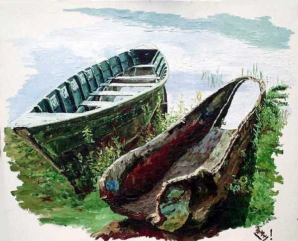 Boats By The Lake Painting by Tenzin Phakmo