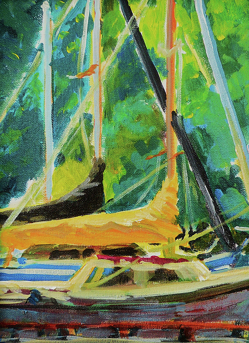 Sailboats Painting - Boats Docked In The Morning by Margaret  Plumb