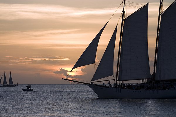 Horizontal Photograph - Boats Passing Through Florida Keys Sunset by Christopher Purcell