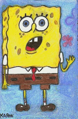 Sponge Bob Squarepants Pastel - Bob In Awe by Kim Cooper