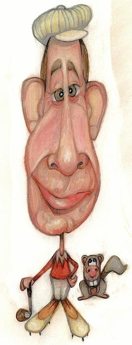 Man Drawing - Bobblehead No 63 by Edward Ruth
