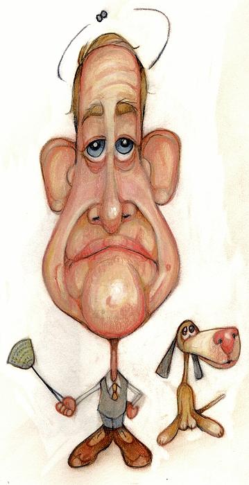 Man Drawing - Bobblehead No 69 by Edward Ruth