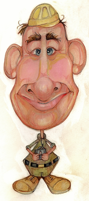 Man Drawing - Bobblehead No 72 by Edward Ruth