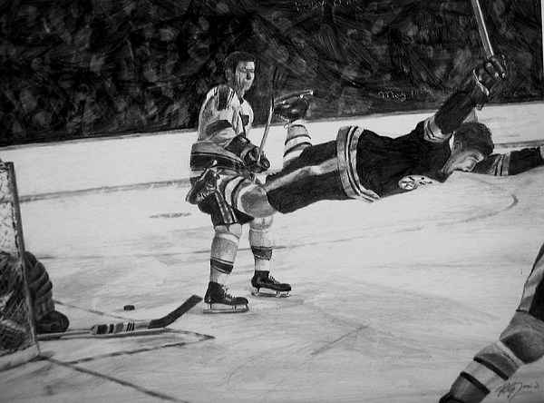 Sport Sports Hockey Boston People Ice Puck Bobby Orr Drawing - Bobby by Peter Jurik