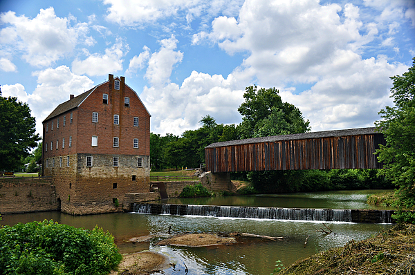 Bollinger Photograph - Bollinger Mill And Covered Bridge by Marty Koch