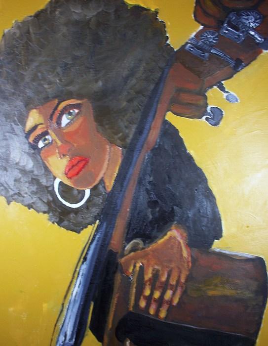 Bass Player Painting - Bonita Chocolate Brown Bass by Samuel Banks