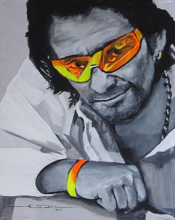 Portrait Painting Bono U2 Painting - Bono  U2 2 U by Eric Dee