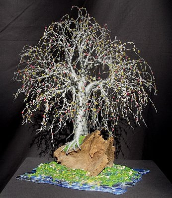 Bonsai Island No. 2 - Wire Tree Sculpture Sculpture by Sal Villano