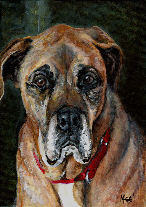 Boxer Painting - Boo For Dogtown by Mary-Lee Sanders