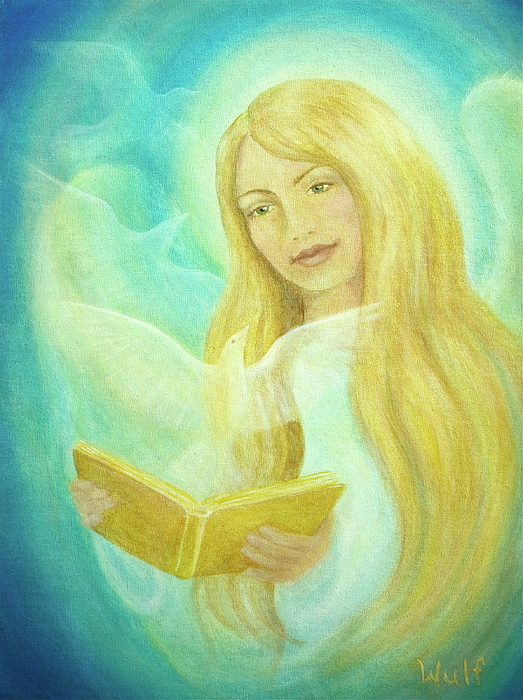 Dove Painting - Book Of Life by Bernadette Wulf
