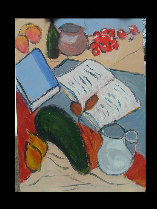 Books Fruit And Jug Painting by Bernard Victor