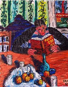 Bookworm Painting by Ira Stark
