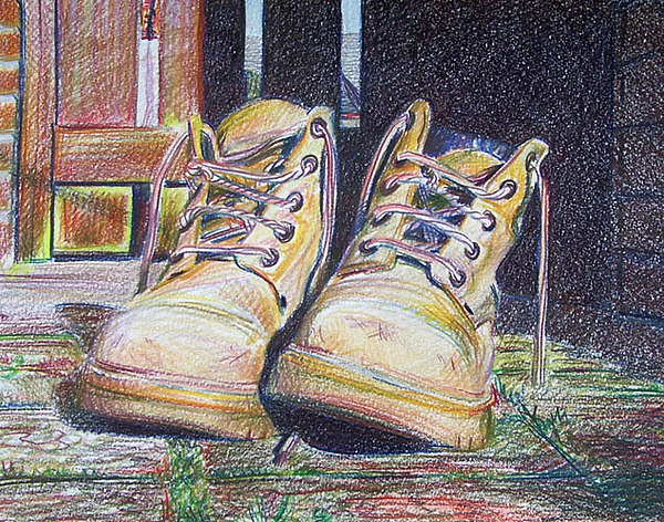 Boots Drawing by Anna Shipstone