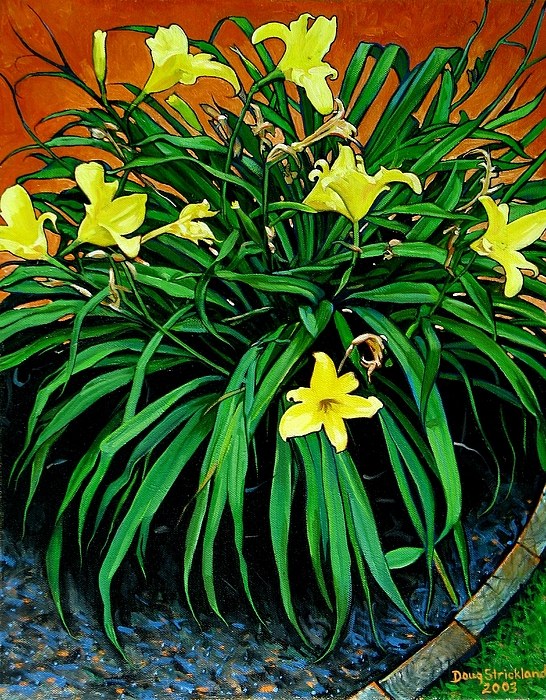 Lily Painting - Border Daylilies by Doug Strickland