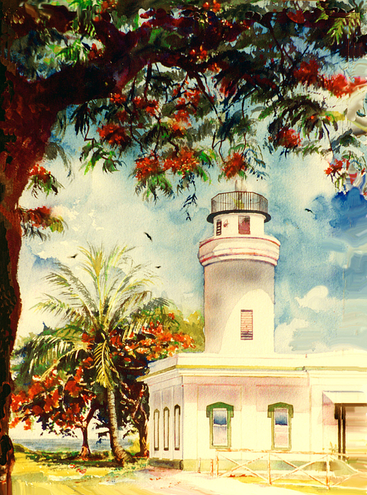 Watercolor Paintings Painting - Borinquen Lighthouse Aguadilla Puerto Rico by Estela Robles