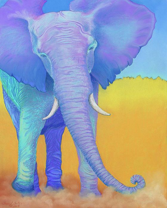 Elephant Pastel - Born Of Wisdom by Tracy L Teeter