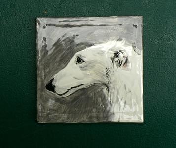 Borzoi Painting - Borzoi Study On Tile 4 X 4  by Phillip Dimor