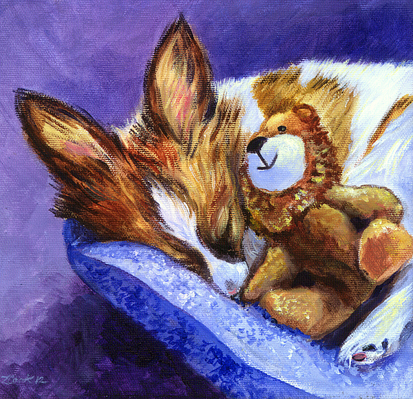 Papillon Dog Painting - Bos And The Lion - Papillon by Lyn Cook
