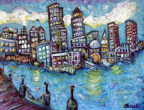 Boston Painting - Boston Harbor by Jason Gluskin