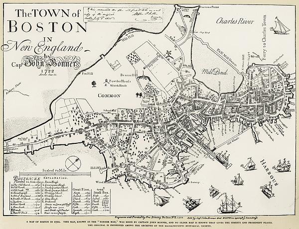 1722 Photograph - Boston Map, 1722 by Granger