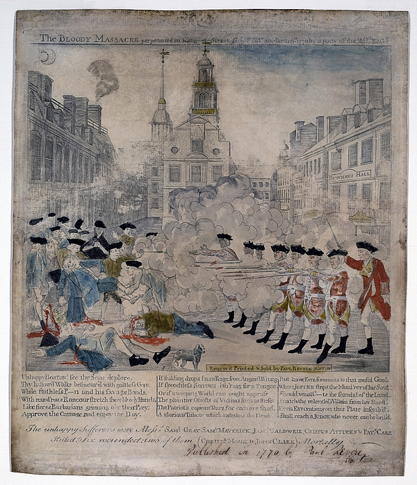 Historical Photograph - Boston Massacre.  British Troops Shoot by Everett