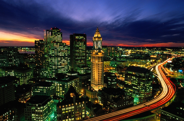 Custom House Photograph - Boston Night Aerial With Time Exposure by Joel Sartore