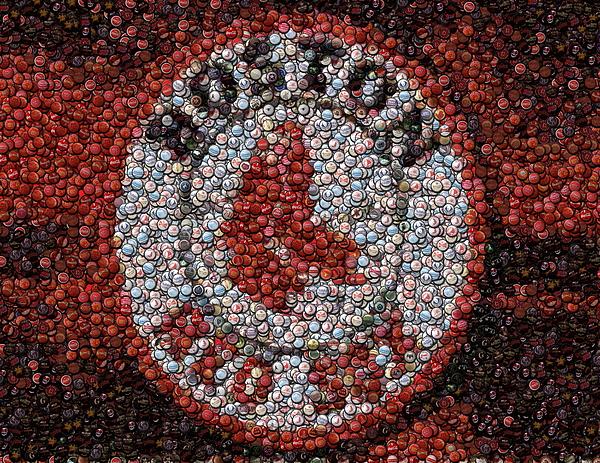 Boston Digital Art - Boston Red Sox Bottle Cap Mosaic by Paul Van Scott
