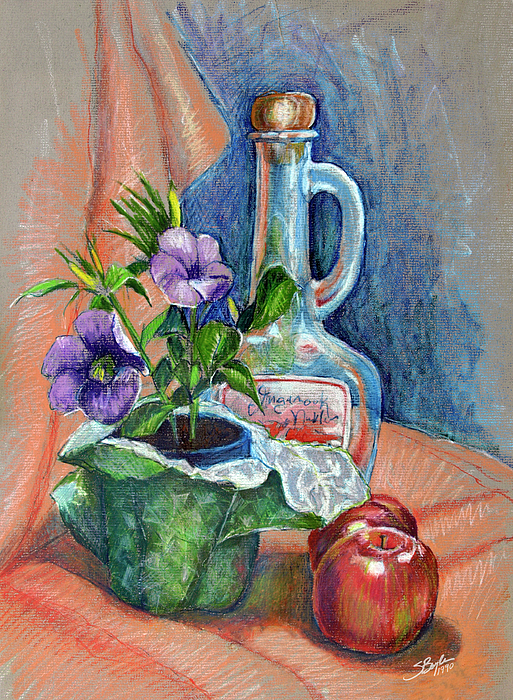 Bottle With Plants Still Life Drawing By Stephen Boyle