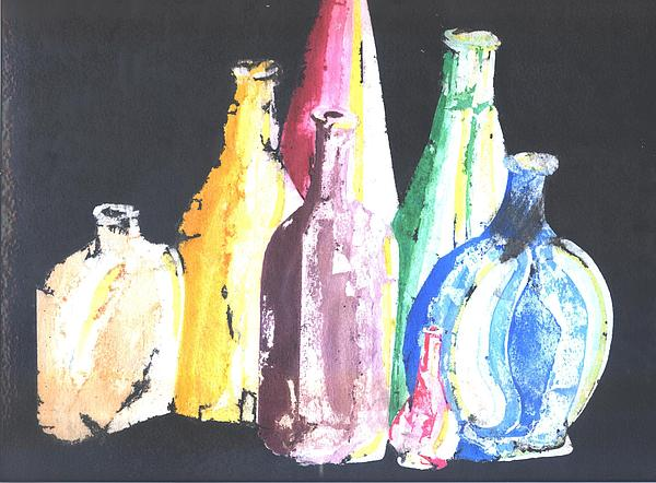 Still Mixed Media - Bottles by Joseph James Lakey
