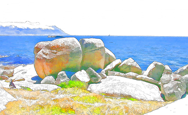 Sea Digital Art - Boulders 4 by Jan Hattingh