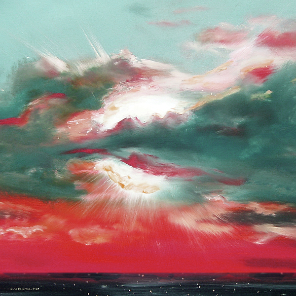 Sunset Painting - Bound Of Glory 2 - Square Sunset Painting by Gina De Gorna
