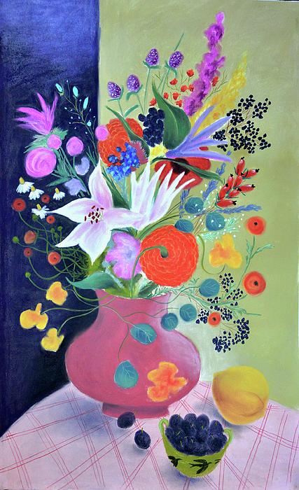 Blackberries Pastel - Bouquet With Dahlias And Blackberries by Tatjana Krizmanic