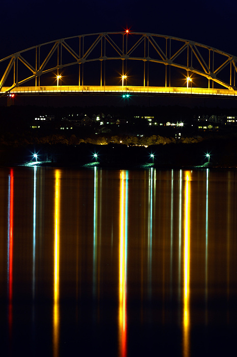 Bourne Bridge Photograph - Bourne Bridge At Night Cape Cod by Matt Suess