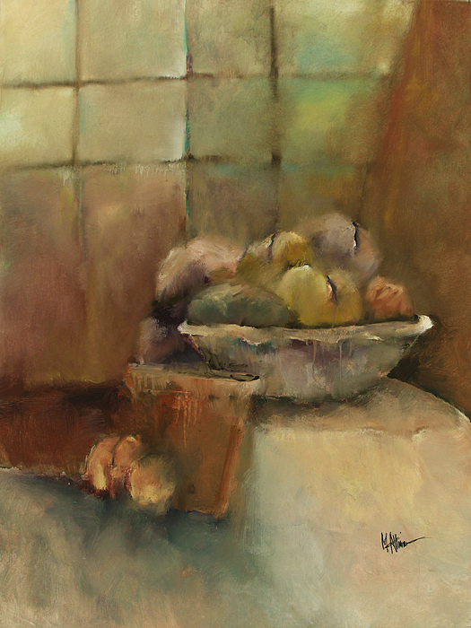 Contemporary Painting - Bowl Of Fruit by M Allison