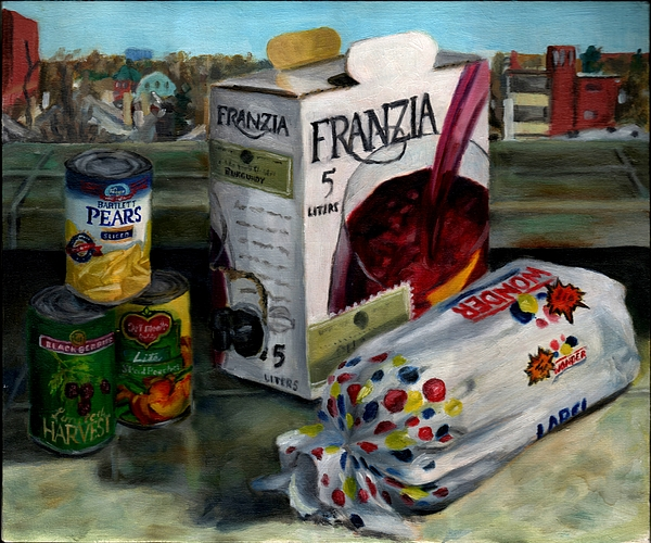 Still Life Painting - Box Wine With Bread No. 1 by Thomas Weeks