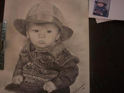 Boy In Hat Drawing by Carrie Williamson