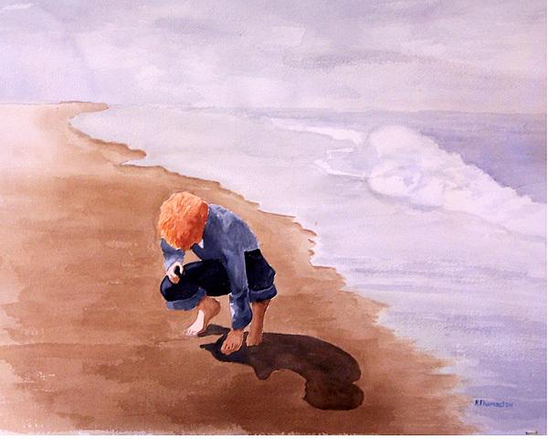 Family Painting - Boy On The Beach by Robert Thomaston